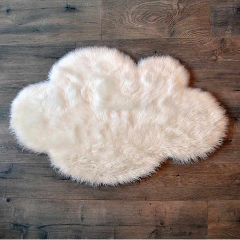 Cloud Washable Faux Sheepskin Rug White Little Crown
