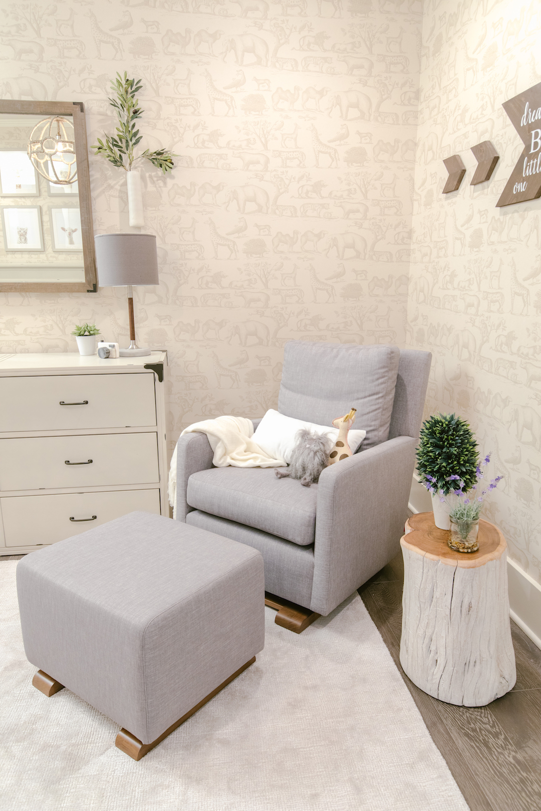 Neutral Nursery Glider | Little Crown Interiors
