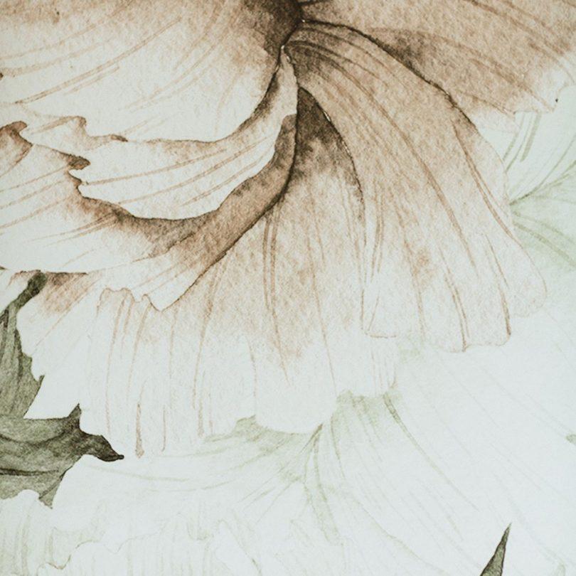 Blush Floral Wall Mural Detail