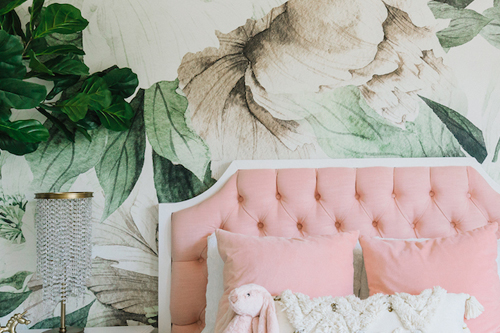 Floral Wallpaper Girl's Room by Little Crown Interiors