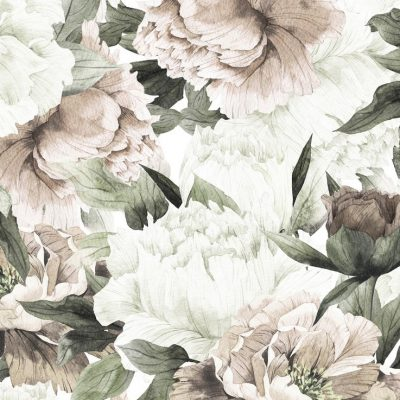 Large Blush Floral Wall Mural