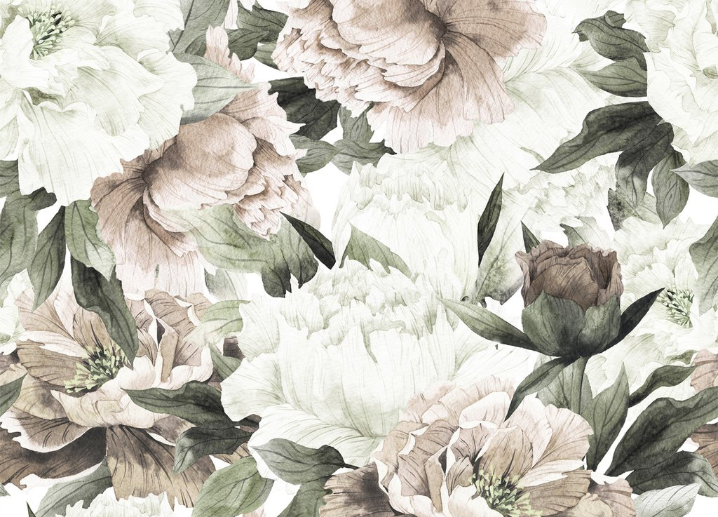 Large Blush Floral Wall Mural Little Crown Interiors