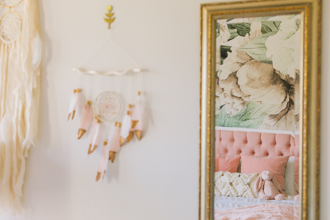 Pink Feather Wall Hanging | Little Crown Interiors