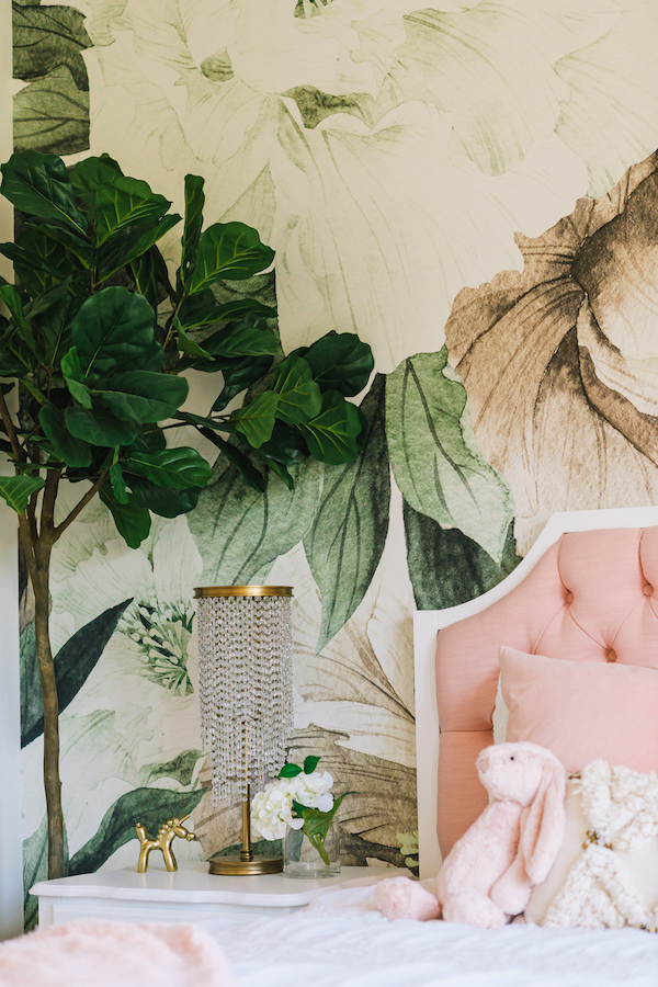 Girl's Room Flower Wallpaper | Little Crown Interiors