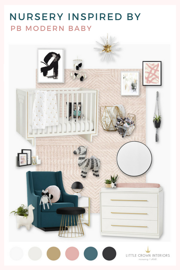 Nursery design board inspired by the new Pottery Barn Modern Baby line | by Little Crown Interiors