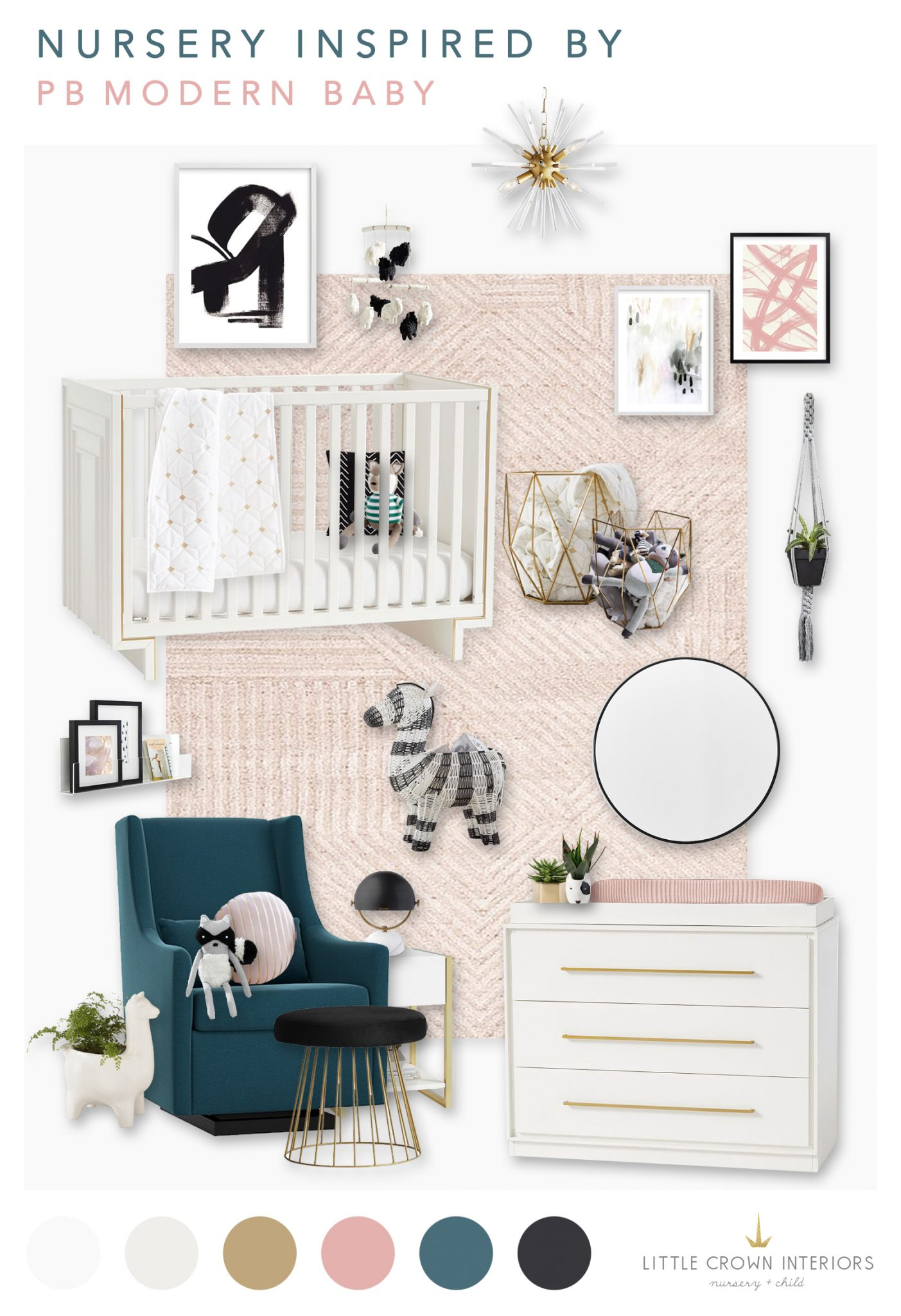 PB Modern Baby Nursery Design Board by Little Crown Interiors
