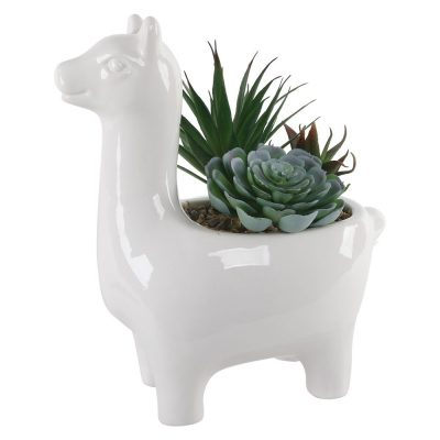 White Llama Planter with Faux Sussuclents