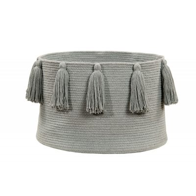 Light Grey Tassel Basket