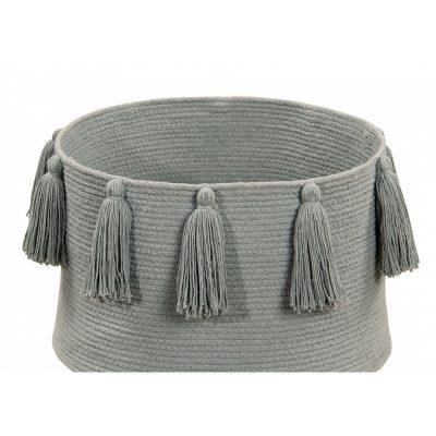Light Grey Tassel Basket