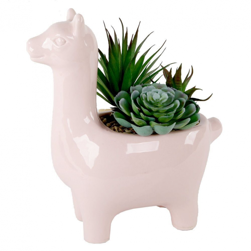 Pink Llama Planter with Faux Succulents
