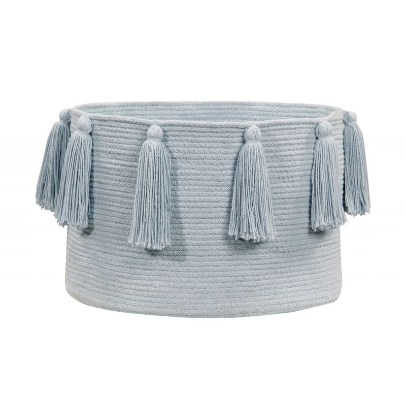 Soft Blue Cotton Storage Basket with Tassels