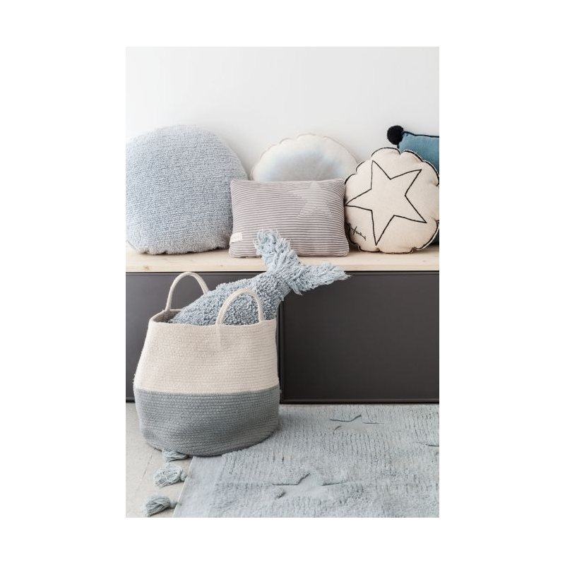 Cotton Storage Basket in Blue and Neutral styled