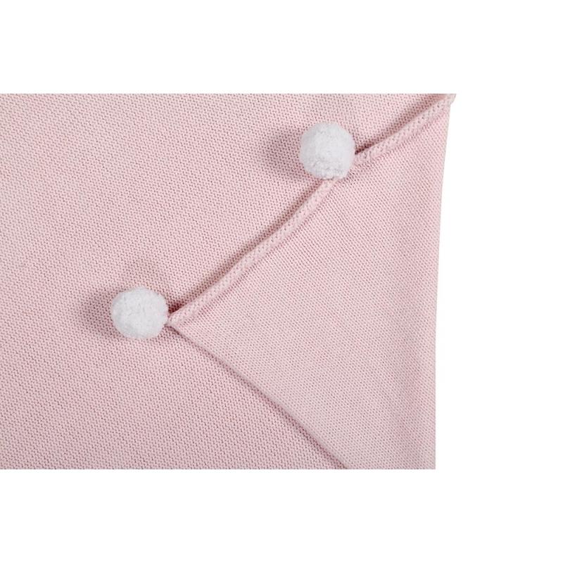 Pom Pom Baby Blanket In Soft Pink Little Crown Interiors