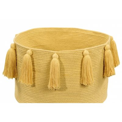 Cotton Tassel Storage Basket in Yellow