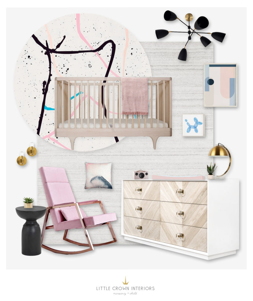 Modern Nursery Design Board by Little Crown Interiors