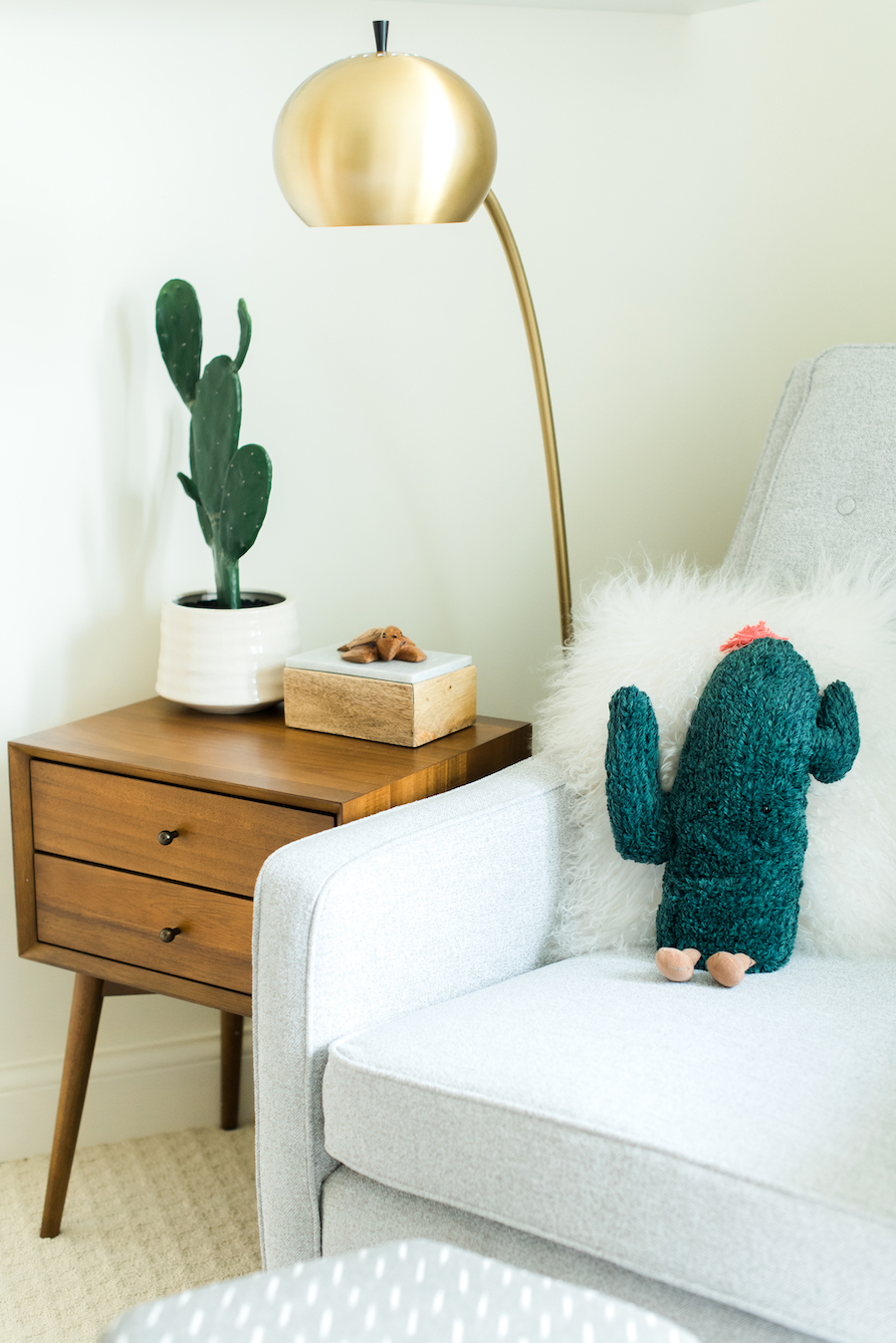 Gender Neutral Nursery Glider by Little Crown Interiors