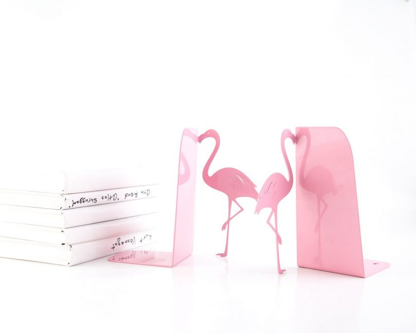 Metal Flamingo Bookends Pink
