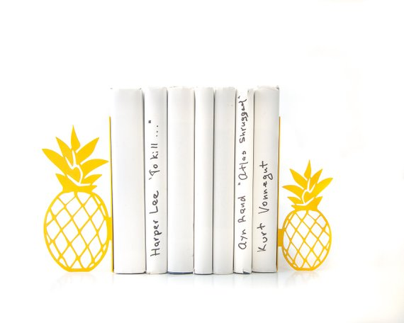 Yellow Pineapple Bookend Metal