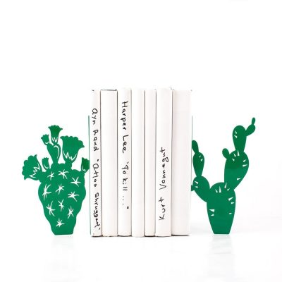 metal cactus bookends green