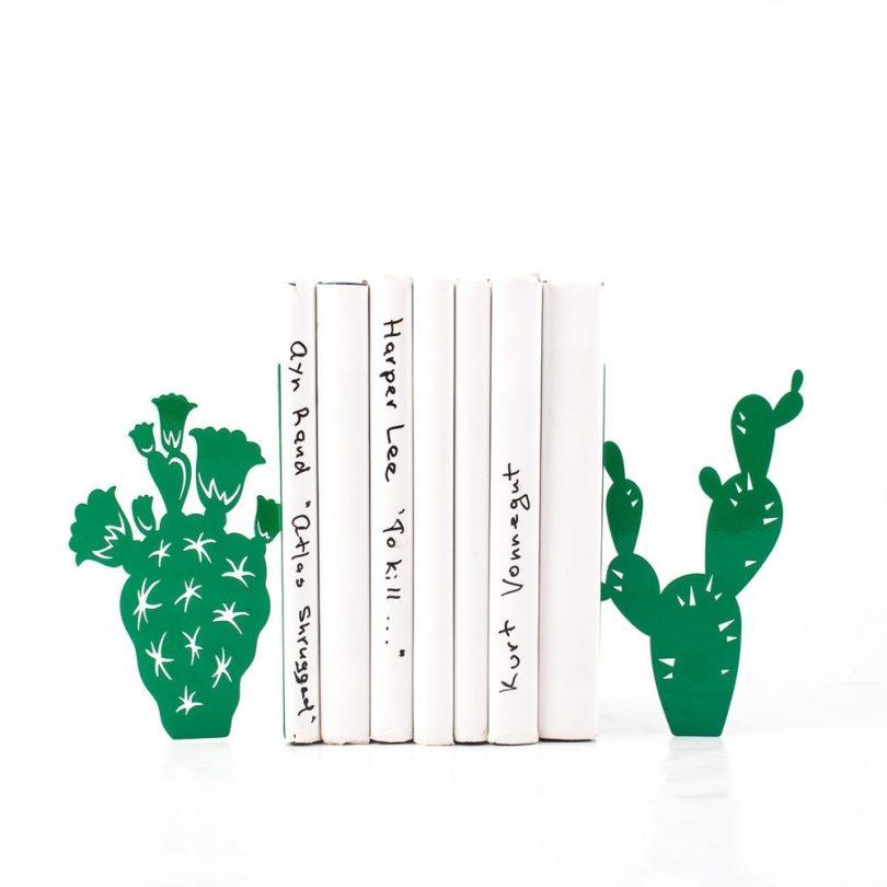 metal cactus bookends green