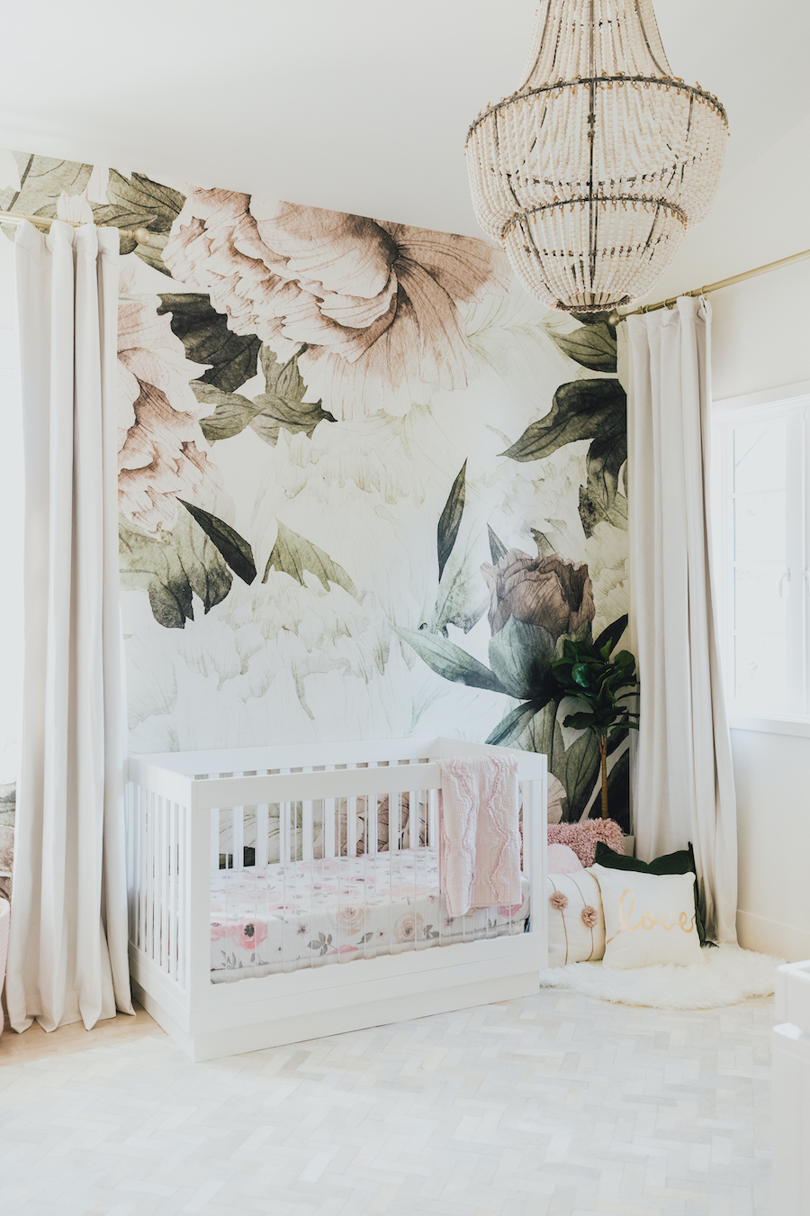 Floral Nursery Wallpaper | Little Crown Interiors