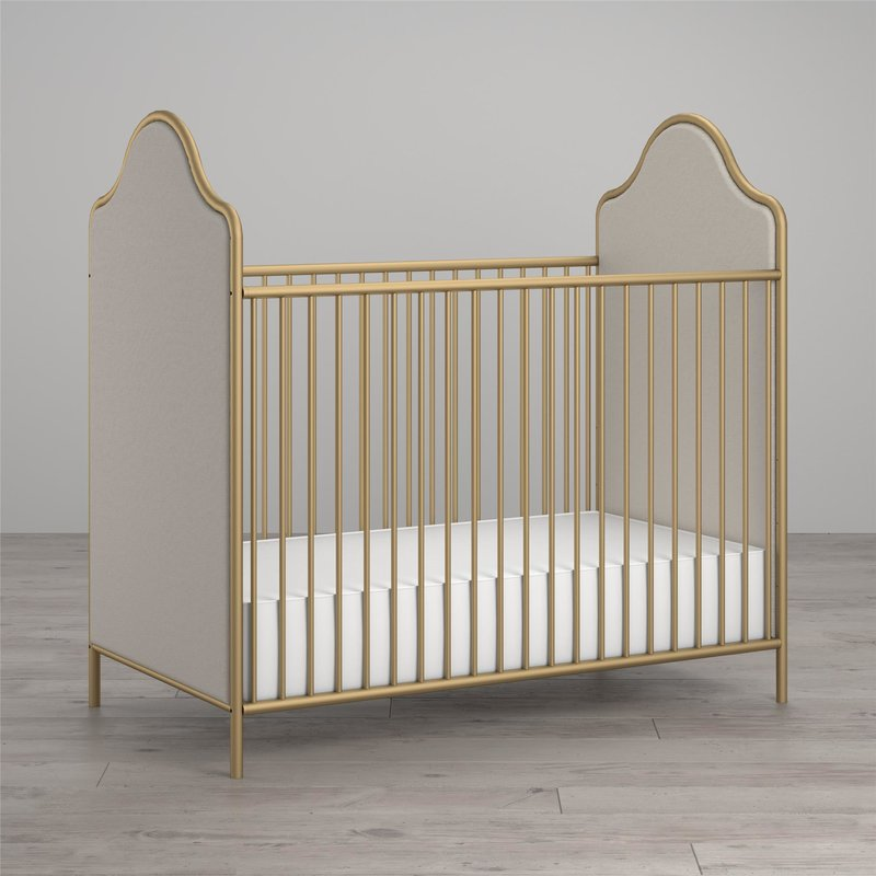 Little Seeds Piper Gold Upholstered Crib