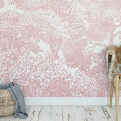 Pink Forest Wallpaper Detail | Little Crown Interiors