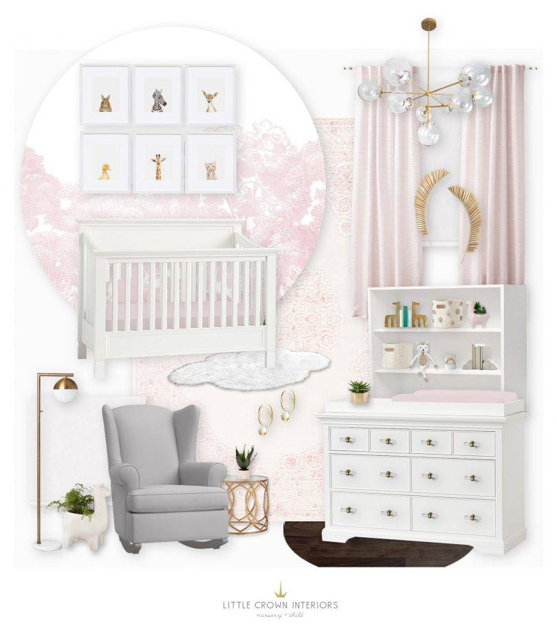 Girl's Pink Nursery E-Design with Forest Wallpaper by Little Crown Interiors