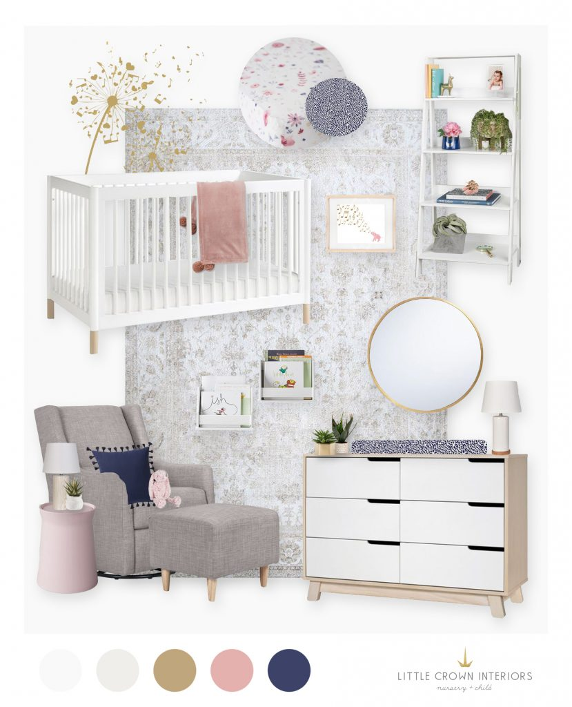 A Modern Pastel Nursery E-Design by Little Crown Interiors