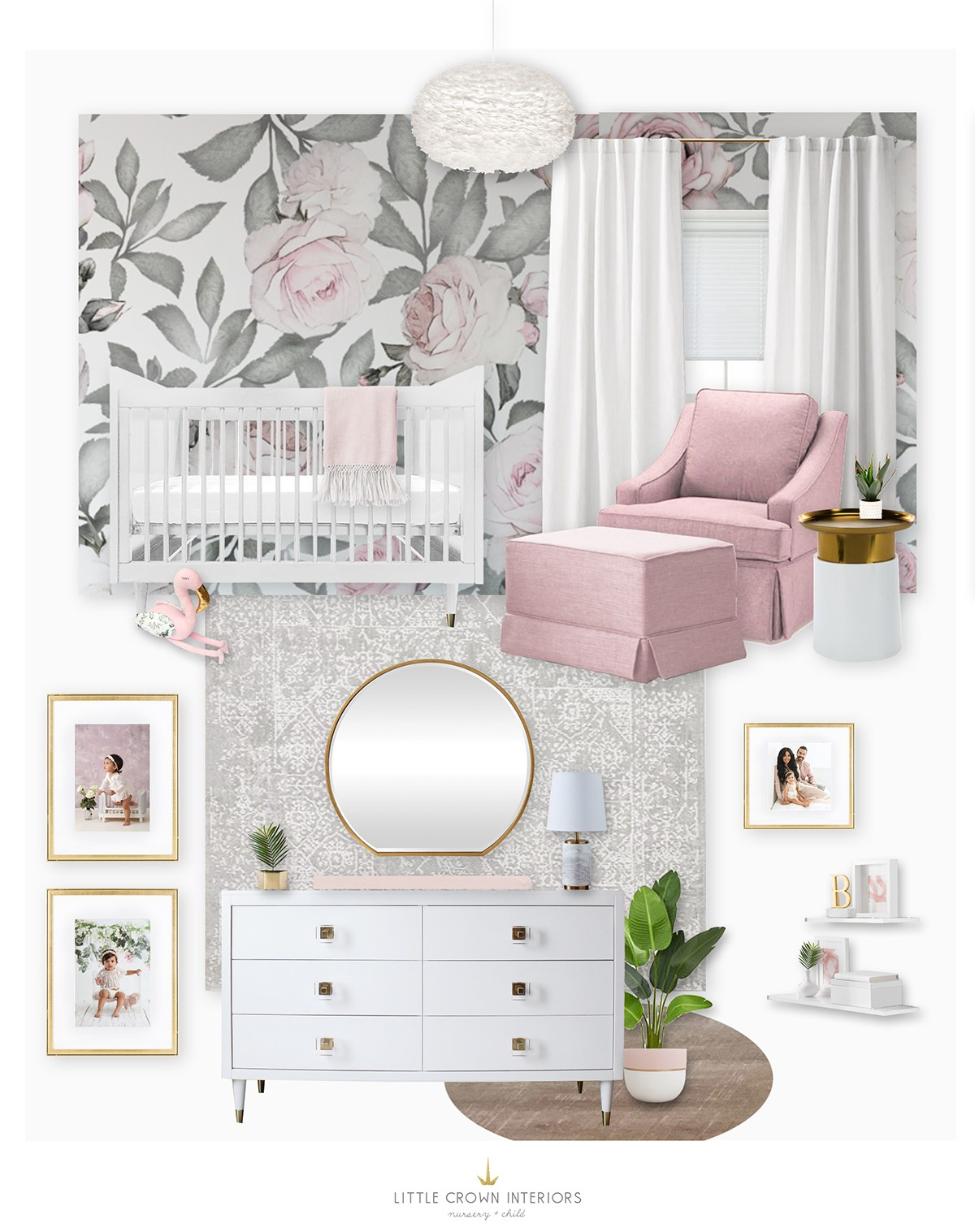 Floral Girl's Nursery for Irene Khan by Little Crown Interiors