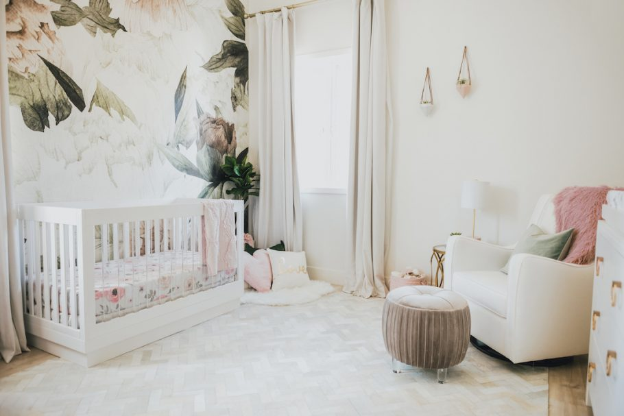 Girl's floral nursery by Little Crown Interiors