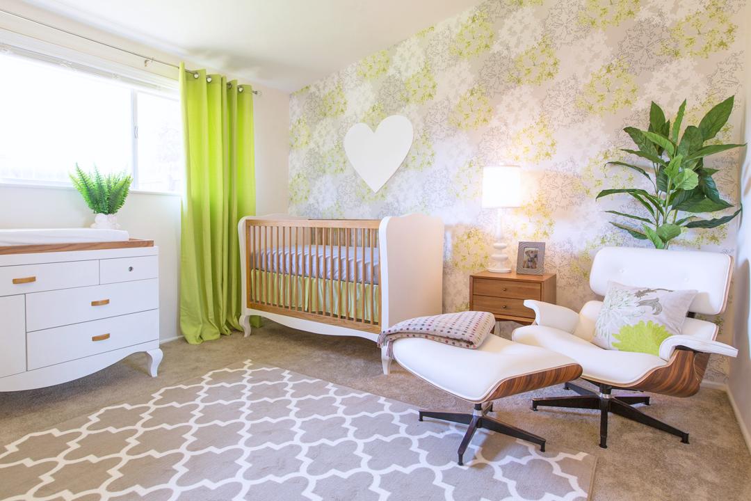 Green and white modern nursery