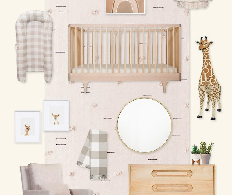 A Neutral Nursery Design Board with Buffalo Check