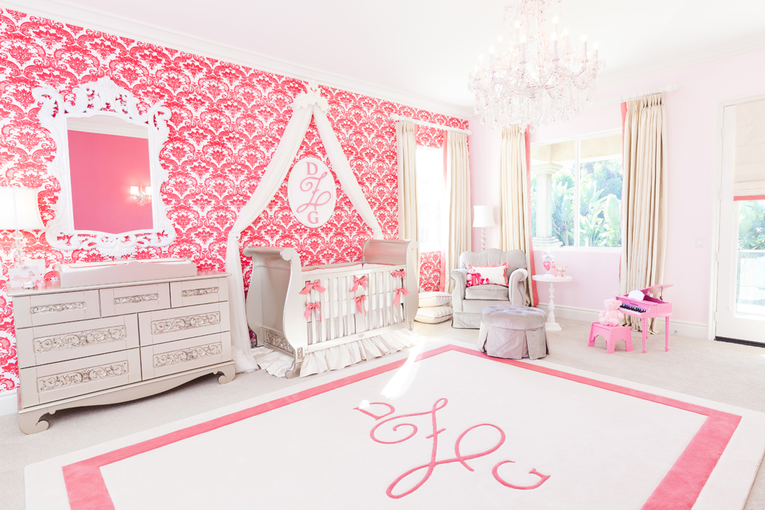Ivory and coral girl's nursery
