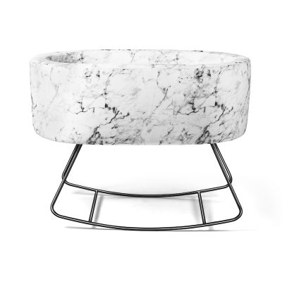 Modern Marble Bassinet on Rocking Base