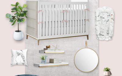 A Glamorous Nursery Design Board with Carrara Marble