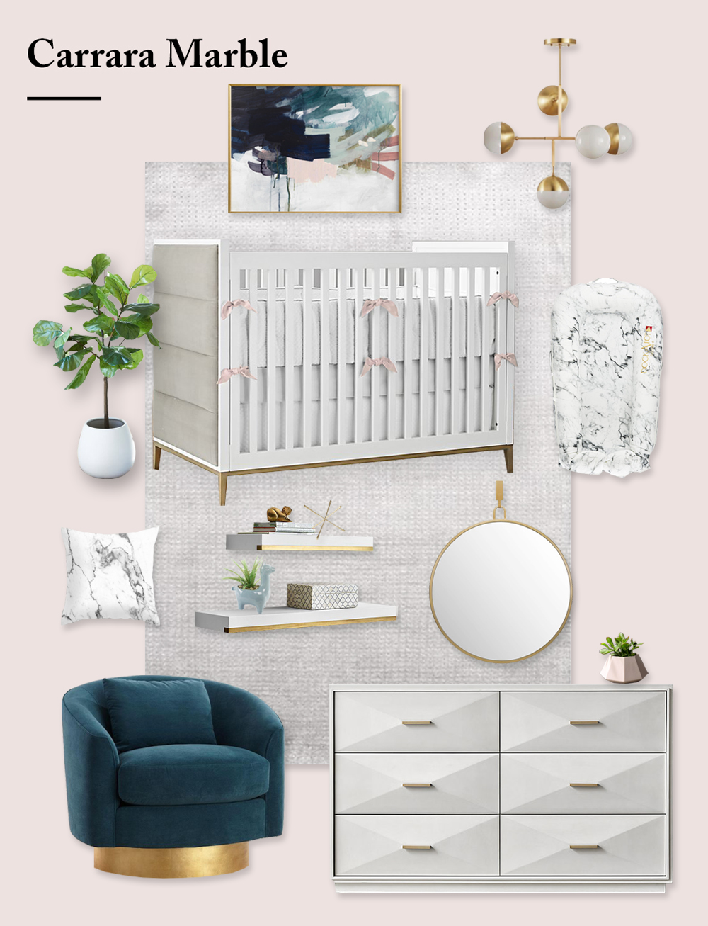 Marble Nursery Design Board by Little Crown Interiors