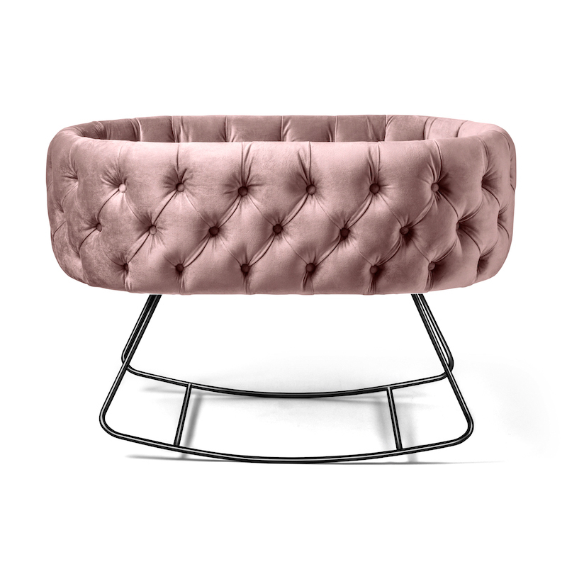Blush Pink Velvet Bassinet on Rocking Base