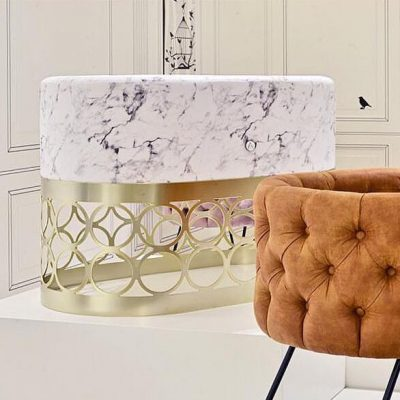 Modern Marble Bassinet on Gold Base