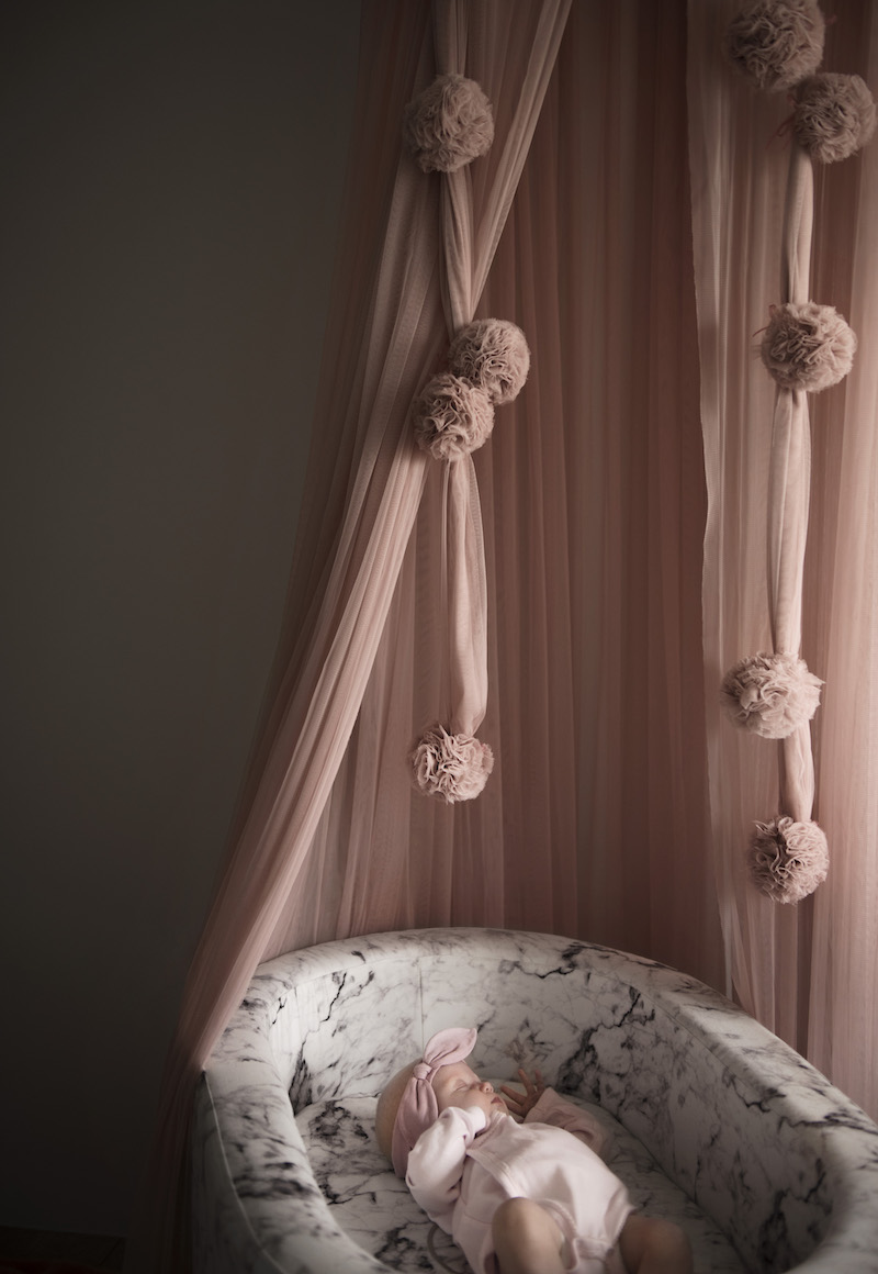 Marble Bassinet with Rose Gold Base