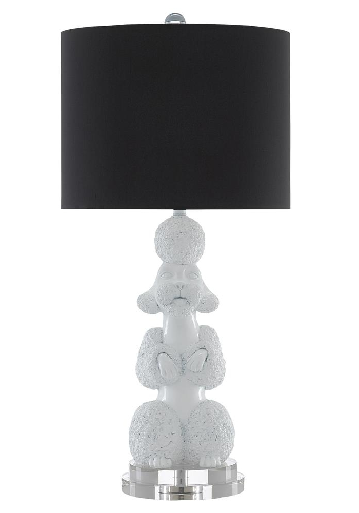 black and white poodle lamp