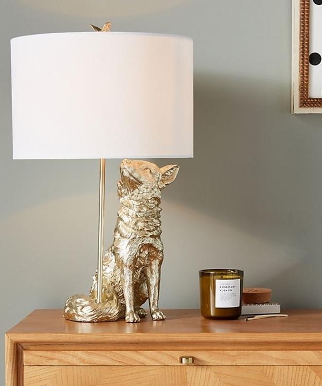Gold fox lamp white shade