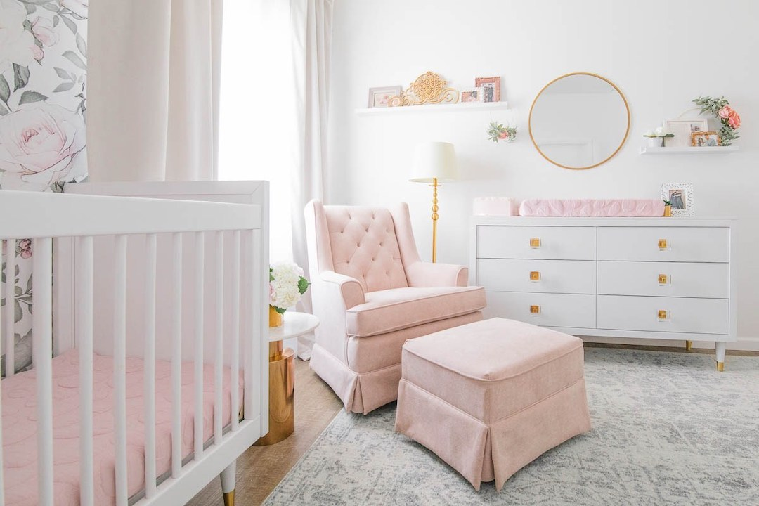 Blush Glam Floral Nursery by Little Crown Interiors