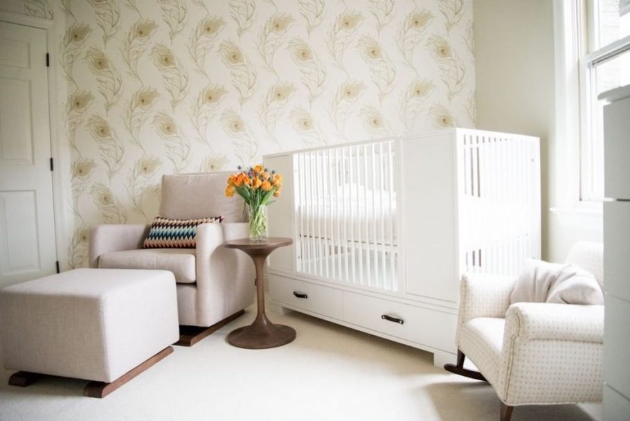 Minimalist Nursery Design with Wallpaper