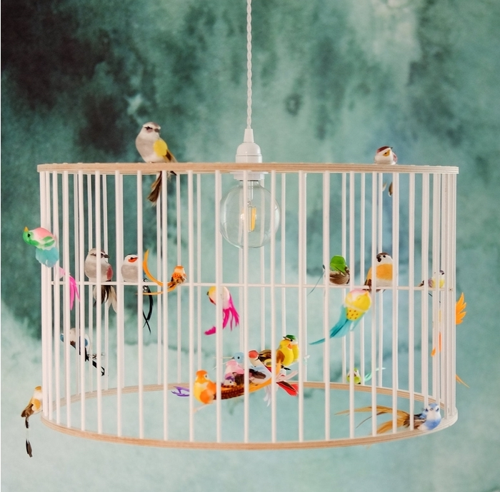 Whimsical birdcage chandelier