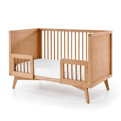 Mid Century Modern Crib Conversion Kit in Warm Wood