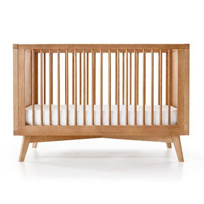 Mid Century Modern Crib in Warm Wood