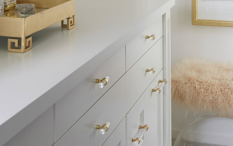 Acrylic hardware for dresser or changing table