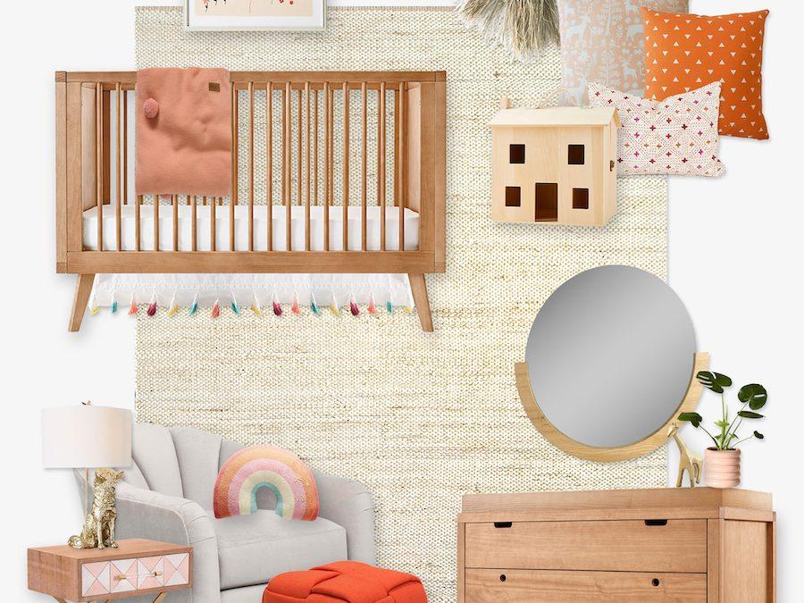 A Pretty Pink and Orange Scandinavian Inspired Nursery