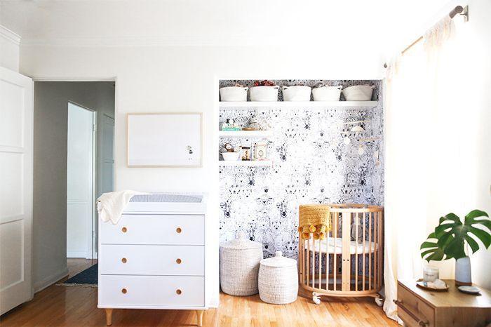 Small Space Nursery with Mini Crib